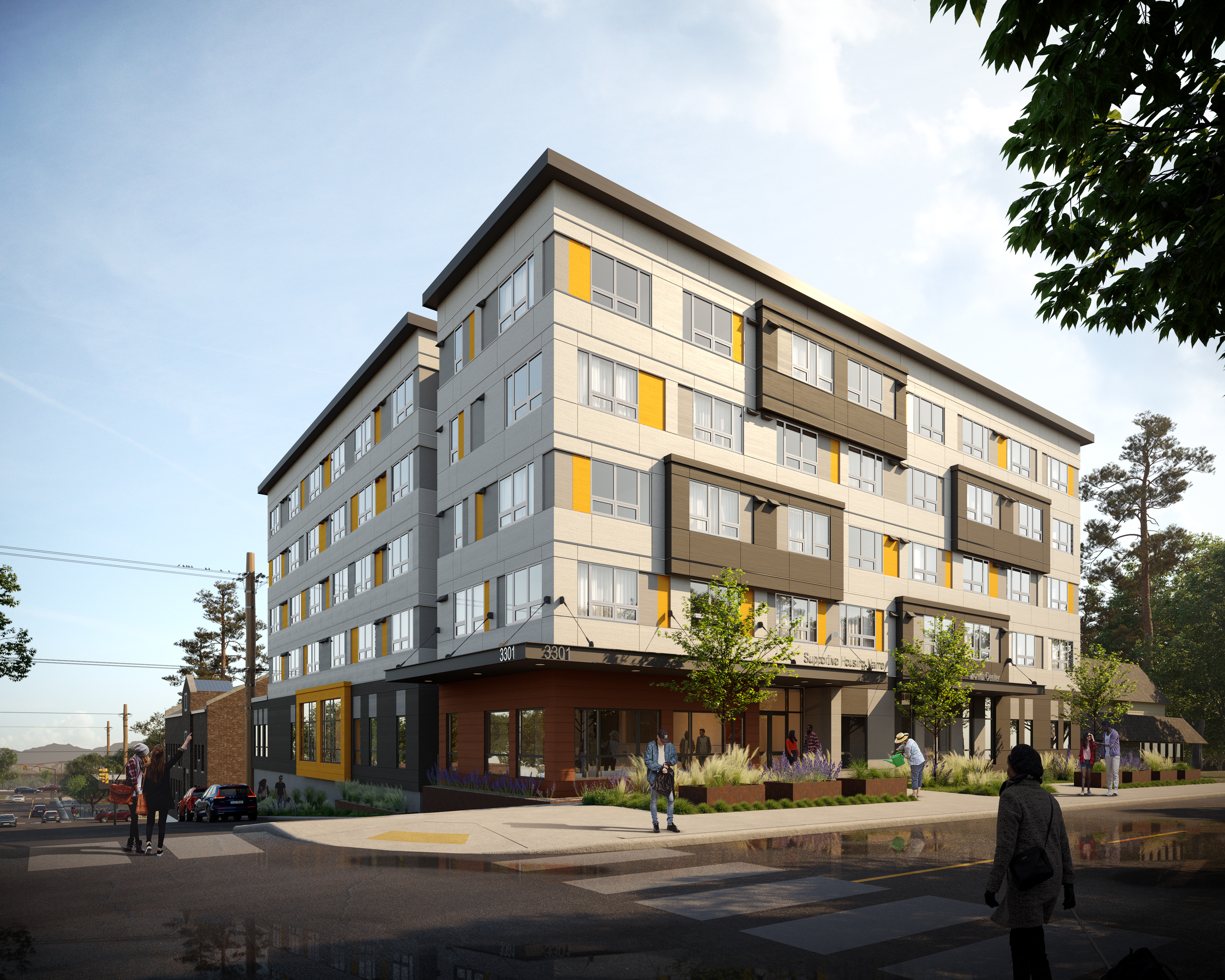 Rendering showing new apartment complex